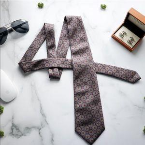 LANVIN Mens Necktie Silver Gray Patterned